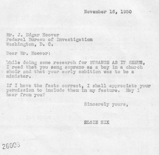 November, 1950 Elsie Hix letter to J. Edgar Hoover