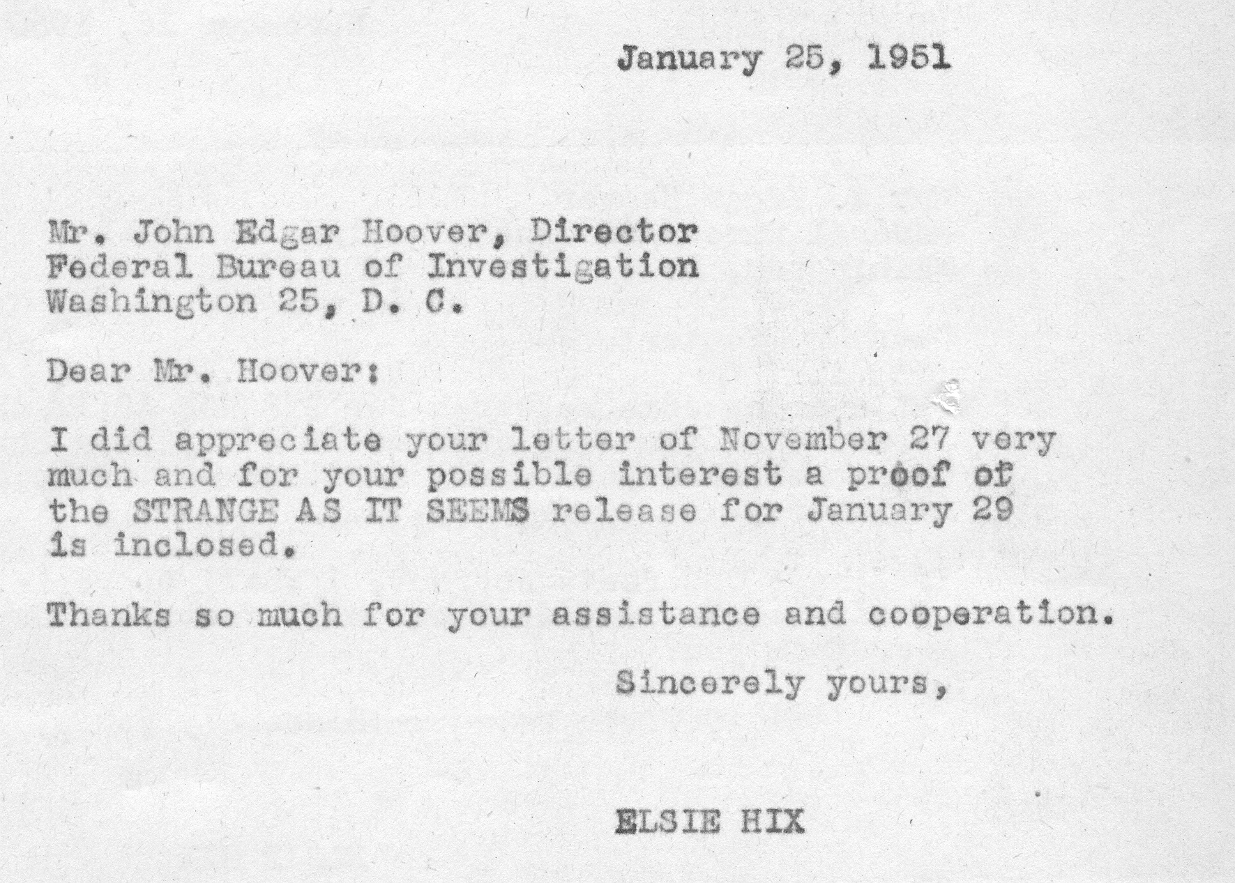 If J Edgar Hoover had been a minister …