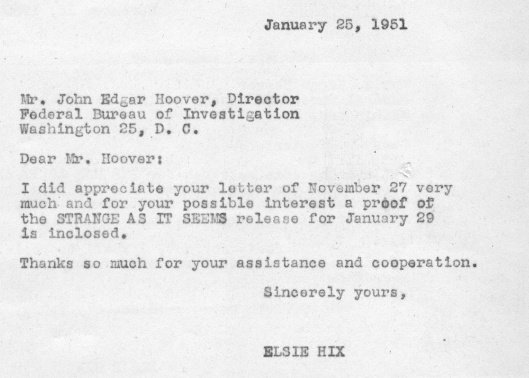 Letter from Elsie Hix to J. Edgar Hoover accompanying comic strip proof